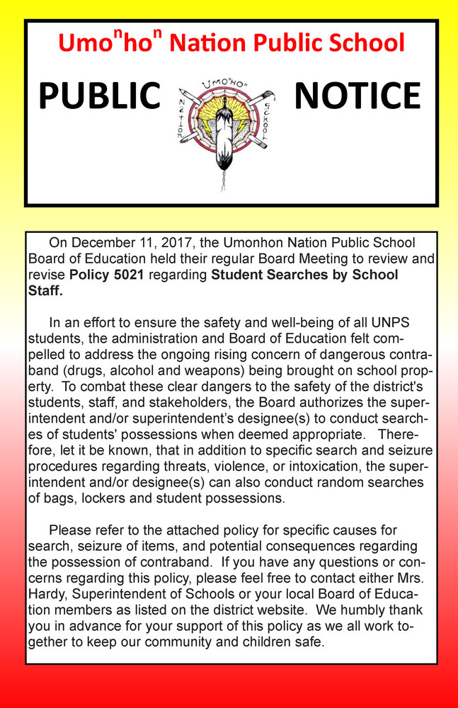 Public Notice About Student Bag Checks