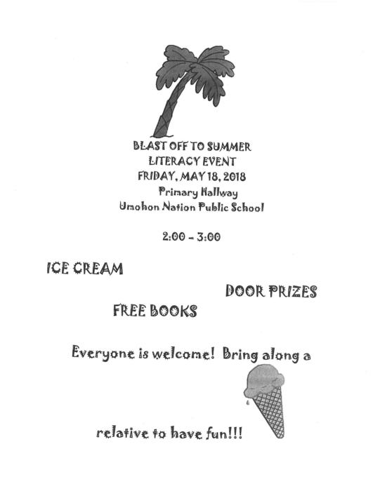 Literacy Event on Friday May 18th from 2 to 3