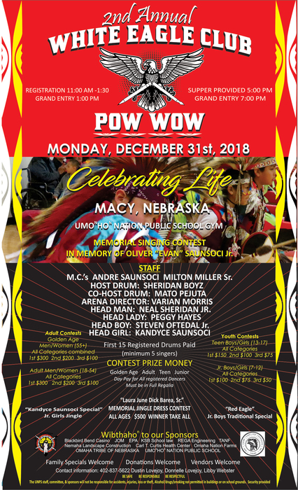White Eagle Club Pow Wow December 31st