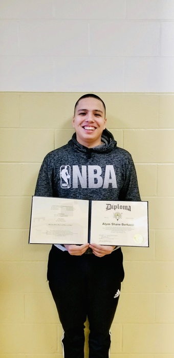 Congratulations to Alyas Bertucci for working hard and receiving his high school diploma from Omaha Nation.