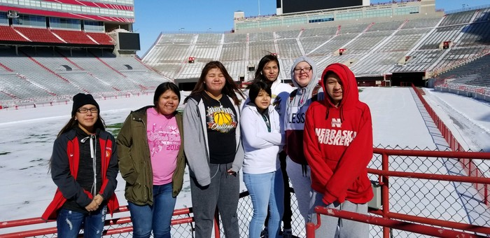 Students touring Memorial field.