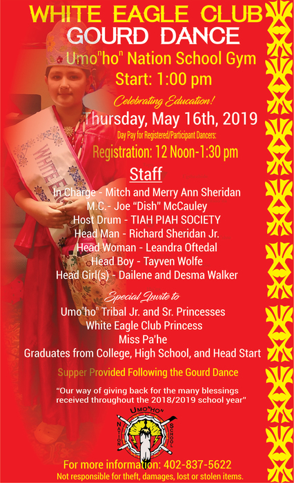 White Eagle Club Gourd Dance 1:00pm May 16th 2019