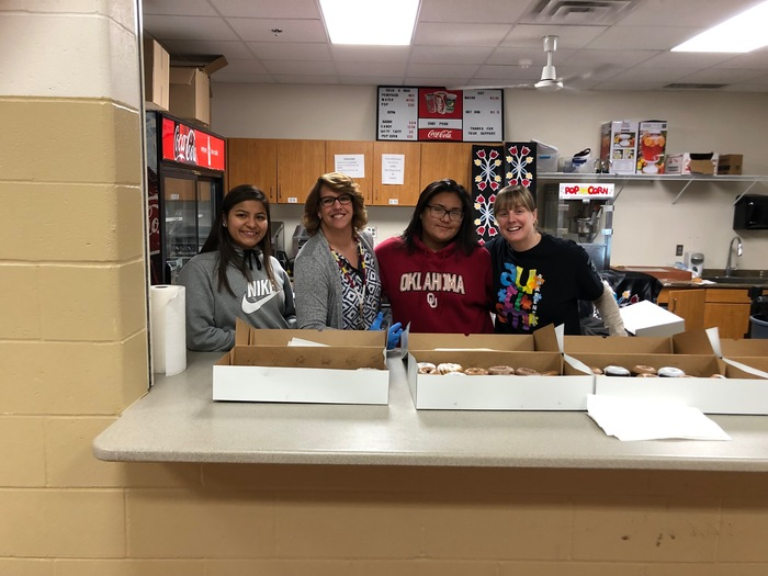 High school student council brought in donuts for teacher appreciation week.