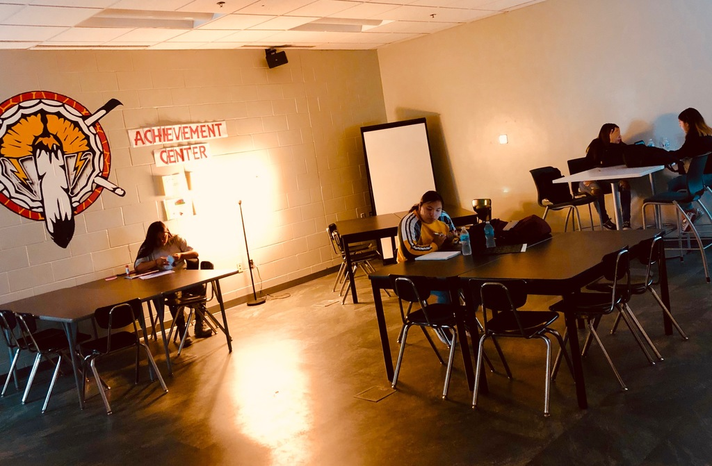 New this year for our high school kids is the Achievement Center for the students to utilize.  Here is a picture of a few of our seniors using the A.C. to work on dual credit college classes.
