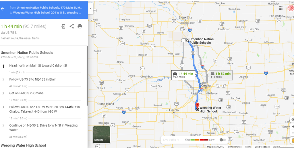 Directions to Weeping Water High School