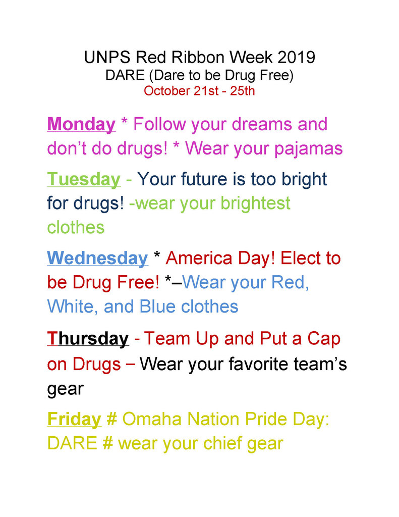 Red Ribbon Week Schedule