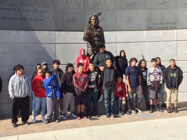 A stop to visit the statue of Cheif Standing Bear.