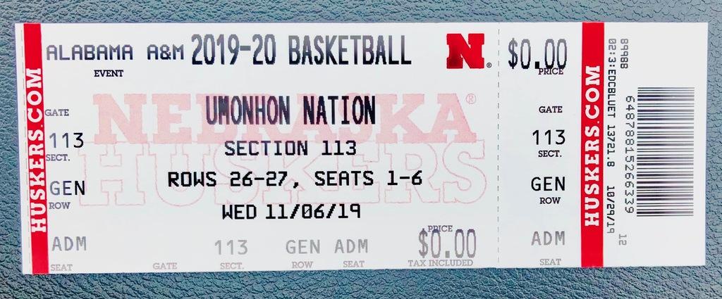 Omaha Nation Husker Ticket