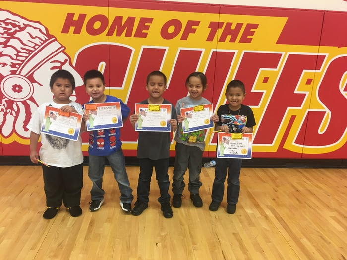 Kindergarten Citizenship Award winners were honored at our February assembly.