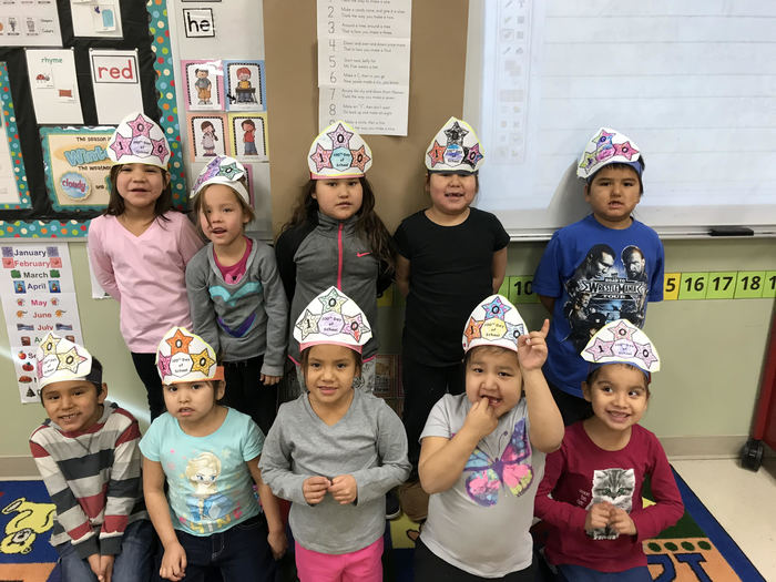 Students celebrating the 100th day of school at UNPS Elementary!