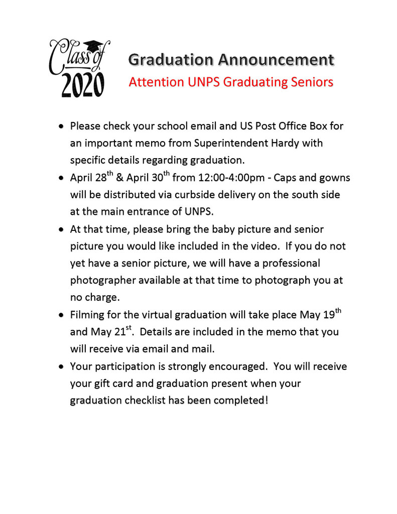 UNPS Senior Graduation Notification