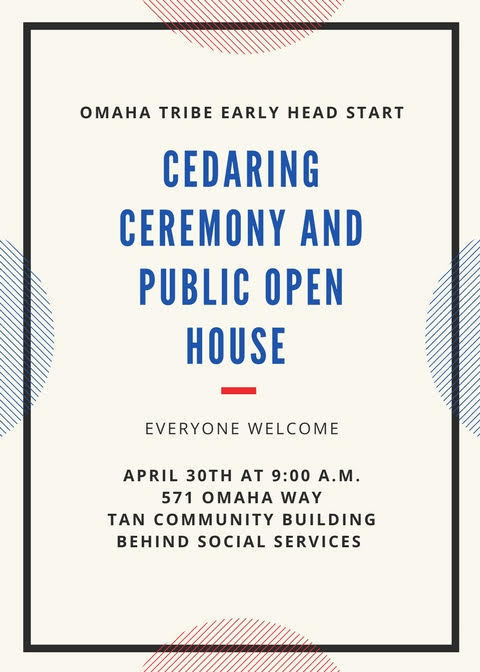 Cedaring Ceremony and Open House April 30th at 9:00am